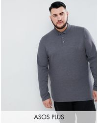 ASOS Plus Long Sleeve Pique Polo With Button Down Collar - Grey