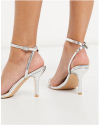 Glamorous Barely There Heeled Sandals - Metallic