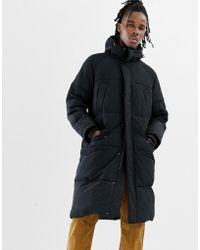 ASOS - Longline Puffer Jacket With Hood In Black - Lyst