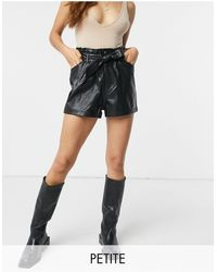 Miss Selfridge Faux-leather Shorts With Paperbag Waist - Black