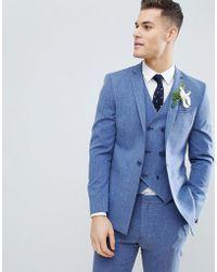 ASOS - Hochzeitsanzugjacke in Provence-Blau mit Kreuzschraffur und bedrucktem Futter - Lyst