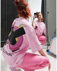 Collusion Розовая Oversized-футболка С Принтом Дракона -розовый Цвет