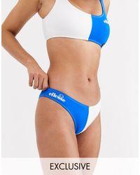 Ellesse Exclusive Colour Block High Leg Bikini Bottom - Blue