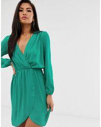 Love Long Sleeve Wrap Dress - Green