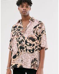Heart & Dagger Oversize-рубашка Со Змеиным Принтом -бежевый - Многоцветный