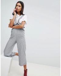Lost Ink - Suspender Trouser With Frill Waist In Fine Stripe - Lyst