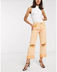 ASOS Low Slung Carpenter Jeans With Extreme Rips - Orange