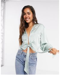River Island Satin Luxe Drapey Knot Front Shirt - Green