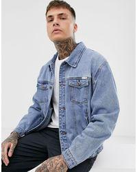 Liquor N Poker Синяя Выбеленная Джинсовая Oversize-куртка -синий