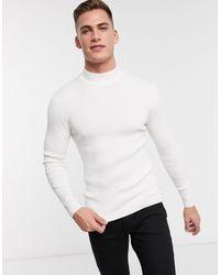 Esprit Jersey ajustado en canalé - Blanco