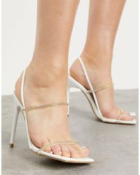 SIMMI Shoes Simmi London Chanelle Heeled Sandals With Diamante Detail - White