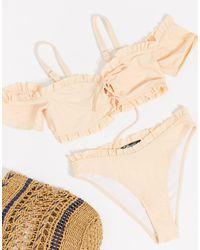 Missguided Ruffle Milkmaid Bikini Top - Pink