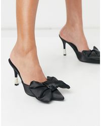 Public Desire Mules With Bow Detail - Black