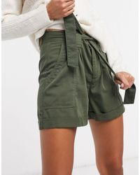 Miss Selfridge Paperbag Waist Shorts - Green