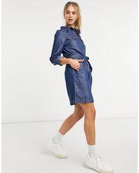 Warehouse Платье-рубашка В Стиле Милитари Из Денима С Поясом -голубой - Синий