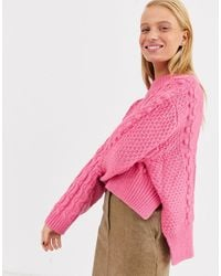 ASOS Crop Bobble Cable Knit - Pink