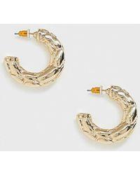 ASOS Hoop Earrings In Chunky Bubble Texture In Gold Tone - Metallic