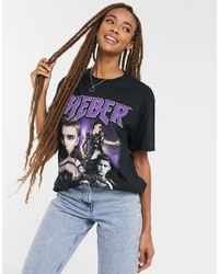 Daisy Street Relaxed T-shirt With Justin Bieber Print - Black