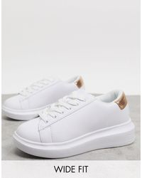 Truffle Collection Wide Fit Chunky Trainers - White