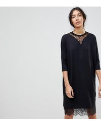 ASOS | Oversize T-shirt Dress With Batwing Sleeve And Lace Inserts | Lyst