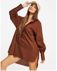 Threadbare Oversized Balloon Sleeve Shirt Dress - Brown