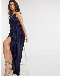Girl In Mind Pleated Wrap Maxi Dress In Navy - Blue