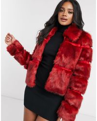 Missguided Short Faux Fur Coat - Red