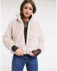 New Look Светло-розовая Куртка Из Искусственного Меха С Воротником-стойкой -розовый
