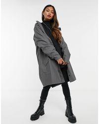 Rains Темно-серая Длинная Водонепроницаемая Куртка Rain-черный - Серый
