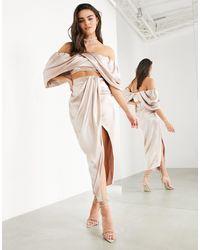 ASOS Satin Drape Split Midi Skirt - Pink