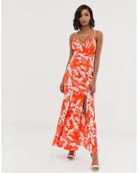 Y.A.S Floral Fishtail Maxi Dress - Red