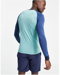 ASOS 4505 Muscle Fit Training Long Sleeve T-shirt With Contrast Panels - Green