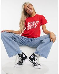 Obey Relaxed T-shirt With Rebel Girls Print - Red