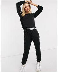 ASOS Hourglass Tracksuit Sweat / Basic jogger With Tie With Contrast Binding - Black