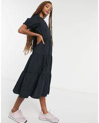 New Look Черное Поплиновое Свободное Платье Миди -черный