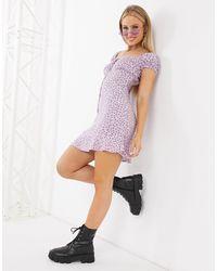 Motel Mini Tea Dress With Tie Front - Purple