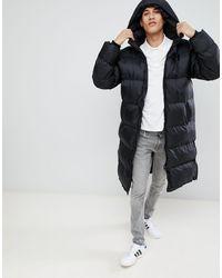 Schott Nyc 2190max Longline Hooded Puffer Coat Regular Fit - Black