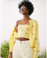 ASOS Cable Cardigan With Embroidered Flowers - Multicolour