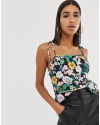 Fashion Union - Tie Sleeves Cami Top In Floral - Lyst
