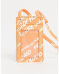 House of Holland Tarjetero con correa y logo - Naranja