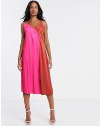 Gestuz Two Tone Satin Slip Dress - Pink