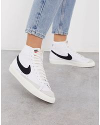 Nike Высокие Сникерсы Blazer Mid '77 В Цвете White Black & Sail - Белый