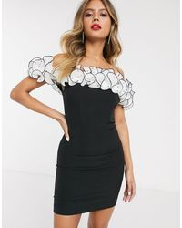 Bardot Off Shoulder Ruffle Mini Dress - Black