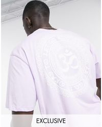 Only & Sons - T-shirt oversize con stampa Om sul retro lilla - Lyst