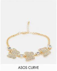 ASOS ASOS DESIGN Curve - Bracelet avec breloques papillons ornés - Métallisé