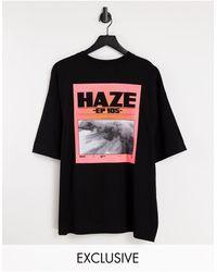 Collusion Unisex - T-shirt oversize avec photo imprimée - Noir