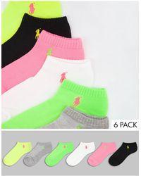 Polo Ralph Lauren - Confezione da 6 paia di calzini multicolore con suola ammortizzata - Lyst