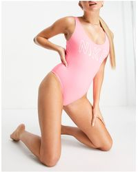Nike Розовый Слитный Купальник С Логотипом -розовый Цвет