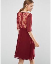 Elise Ryan Midi Dress With Lace Sleeve And Back - Red