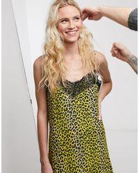 Notes Du Nord Omita Leopard Print Slip Midi Dress - Yellow